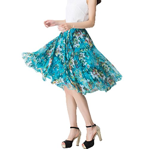 Skirt Gypsy Printed - MINGXIN Gypsy / Bohemian Women's Printed Chiffon Pleated Knee-Long Skirt Multi6