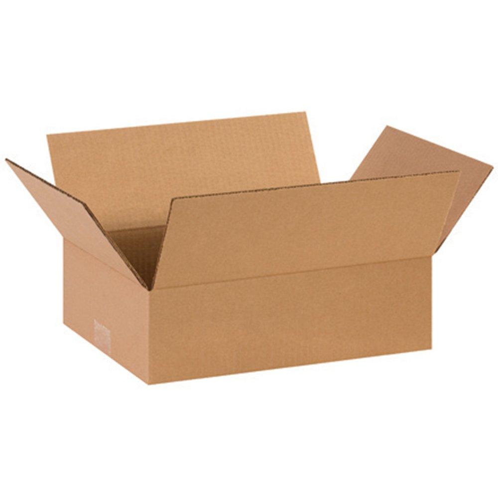 Aviditi 14104 Flat Corrugated Box, 14'' Length x 10'' Width x 4'' Height, Kraft (Bundle of 25) by Aviditi