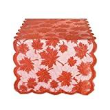 """DII 18x72"""" Lace Table Runner, Maple Leaf Orange Spice - Perfect for Fall, Thanksgiving, Catering Events, Dinner Parties, Special Occasions or Seasonal Décor"""