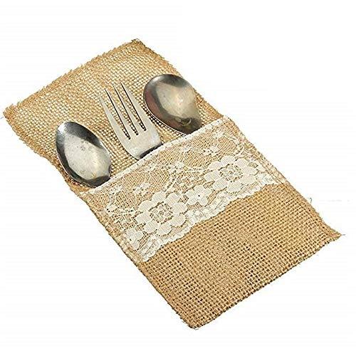 (WallyE Burlap Silverware Holders, Cutlery Pouch for Rustic Wedding, Bridal Shower Tableware Bags Favor, 10)