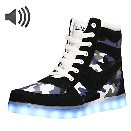 LACONSO Women Walking LED Shoes, Flashing Sound Control Lights Up Sneakers For Party Lace Up High Top Running Dancing Shoes USB Charging For Christmas Valentine's Day