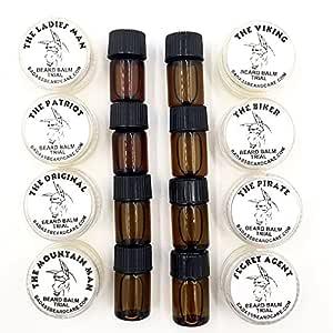 Badass Beard Care Trial Kit For Men - 8 Packs, Trial Sizes of Beard Balm & Beard Oil