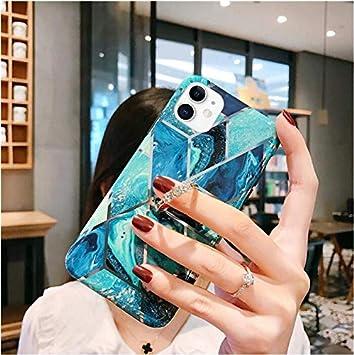 Custodia Compatibile con iPhone 11,Cover Diamante Anello Marmo Cuciture Placcatura Oro Conchiglia Creativo Modello Ultrasottile Leggero Caso Antiurto Anti Scivolo TPU Opaco Case,Rosa