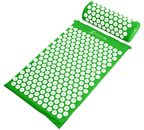 ProSource Acupressure Mat and Pillow Set for Back/Neck Pain Relief and Muscle Relaxation, Green