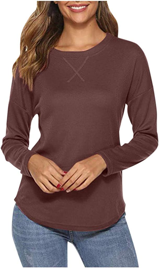 Joyfeel Women'S Casual Crew Hals lange Sleeve Shirts Solid Color Knitted Pullover Blouse Tops für fallen Winter