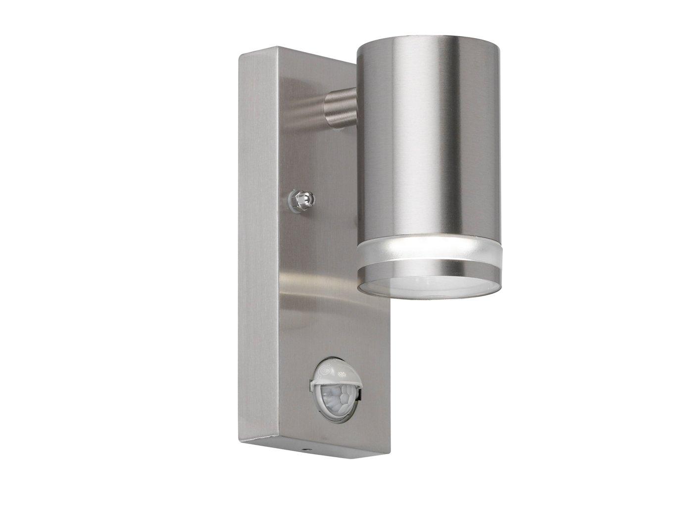 Applique da parete Gen Tara con sensore di movimento e LED lampadina, in acciaio inox spazzolato, IP44, illuminazione di facciate, Downlight