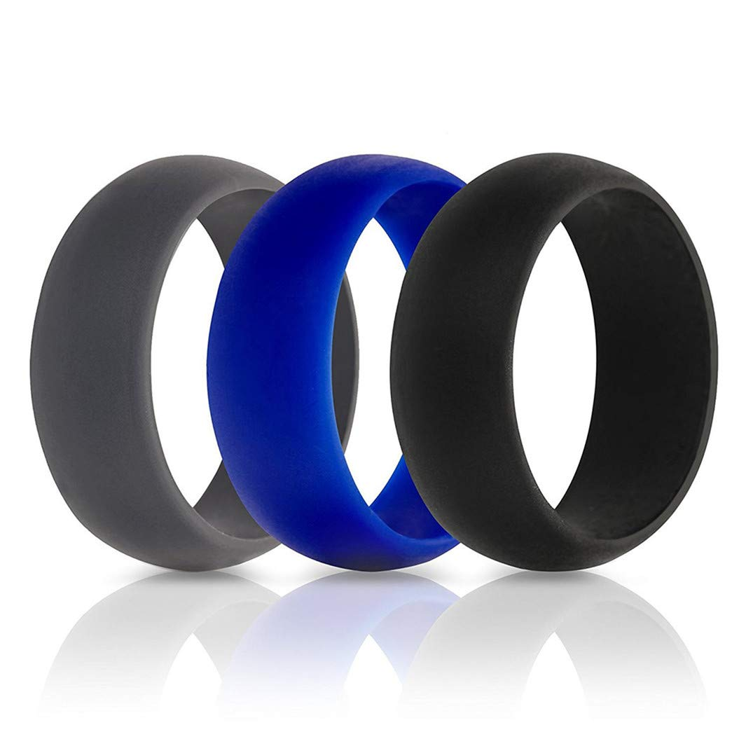 YouCY Silicone Wedding Ring,Silicone Rings Wedding Bands for Women Men,Black gray blue,Size 8