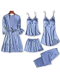 Chinashow Set of 5 Womens Satin Pajamas Set Sexy Ice Silk Suit Set Sleepwear/Nightwear Clothes, Blue #A