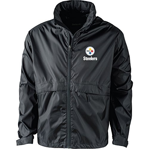 Dunbrooke Apparel NFL Pittsburgh Steelers Men's 5490Sportsman Waterproof Windbreaker Jacket, Black, (Pittsburgh Steelers Mens Jackets)