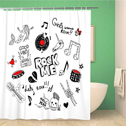 Awowee Bathroom Shower Curtain Cool Large of Retro 90S Funny Teen Rock Drawings Polyester Fabric 72x72 inches Waterproof Bath Curtain Set with Hooks ()