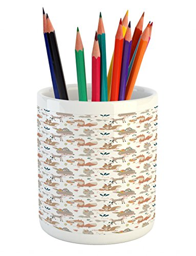 Lunarable Forest Pencil Pen Holder, Fox Gazelle Rabbit Pastel Flowers Birds Butterfly Botanical Magic Nature, Ceramic Pencil Pen Holder for Desk Office Accessory, 3.6