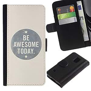 KingStore / Leather Etui en cuir / Samsung Galaxy S5 V SM-G900 / Sea impresionante Hoy Inspiring Beige Cita
