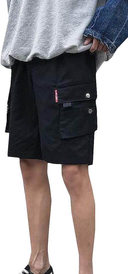 Etecredpow Mens Comfortable Multi Pocket Elastic Waist Bermuda Drawstring Cargo Shorts