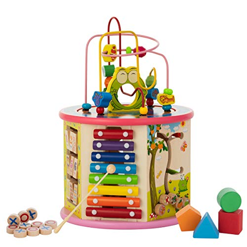 KIDDERY TOYS 8-in-1 Wooden Activity Center Includes Xylophone | Educational & Learning Activity Play Cube for 1-Year-Old Boys & Girls, Babies & Toddlers Idea(Pink)