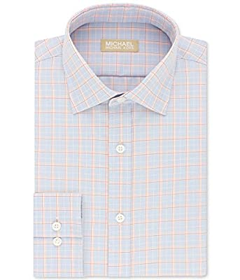 Michael Kors Mens Non-Iron Airsoft Cotton Button up Dress Shirt