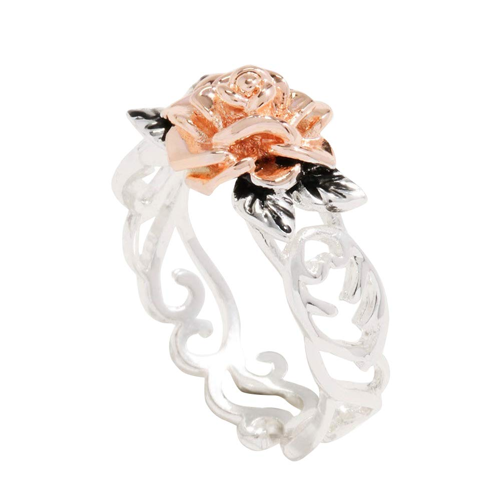 Slendima Exquisite Hollow Rose Flower Charm Finger Ring Women Fashion Proposal Engagement Jewlery Gift Silver US 7