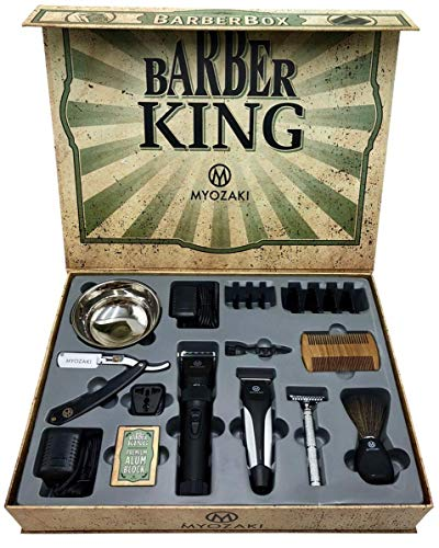 Barber Box Kit - including 9 items: Hair Clipper(4 Combs) Hair Trimmer(3 Combs) Straight Razor, Shaving Bowl, Vintage Safety Razor, Shaving Brush, Alum Block, Beard Comb, Travel Adapter