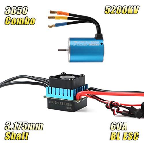 RCRunning 3650 5200KV 3.175mm Sensorless Brushless Motor with 60A Brushless ESC Combo for 1:10 Racing Truck Truggy RC Cars (Blue)