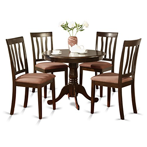 East West Furniture ANTI5-CAP-C 5-Piece Kitchen Table Set, Cappuccino Finish, Cushion Seat, ()