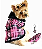 DOGGIE DESIGN Charmed Winter Harness Coat with Matching Leash Set – Assorted Plaids – Available Dog Sizes XS Thru XXL (Small- Chest 12″-15″ Neck 10″-12, Hot Pink Plaid) For Sale