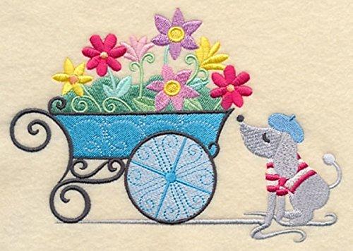 Embroidered Kitchen Towel Paris Puppy Flower Cart Design ()