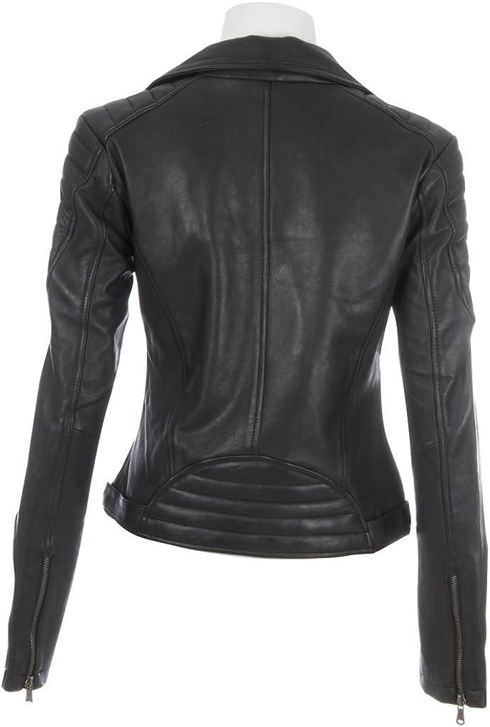 Aviatrix Damen superweiche Lederjacke mit asymmetrischem Reißverschluss (K014) Schwarz