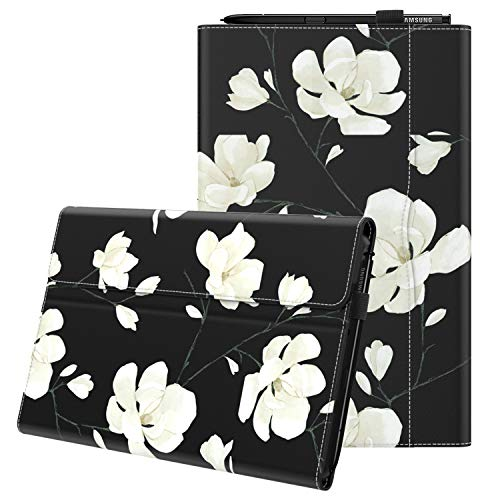 MoKo Case Fit Samsung Galaxy Tab A 10.1 2019, Ultra Lightweight Portfolio Business Cover with Document Card Slots for Galaxy Tab A 10.1 Inch SM-T510/T515 2019 Release Tablet - Black & White Magnolia (Best Tablet 2019 For Business)