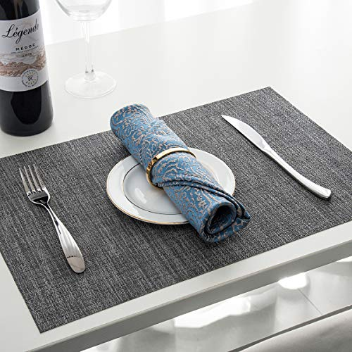 BETEAM Placemats, Heat-resistant Placemats Stain Resistant Anti-skid Washable PVC Table Mats Woven Vinyl Placemats, Set of 6 (Grey) by BETEAM (Image #6)