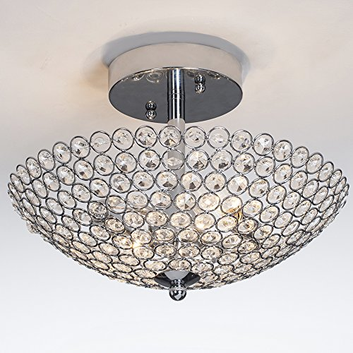 POPILION Elegant 2 Light Bowl Shaped Chrome Finish Metal Crystal Chandelier,Flush Mount Ceiling Light (Fixture Shaped Ceiling Light Star)
