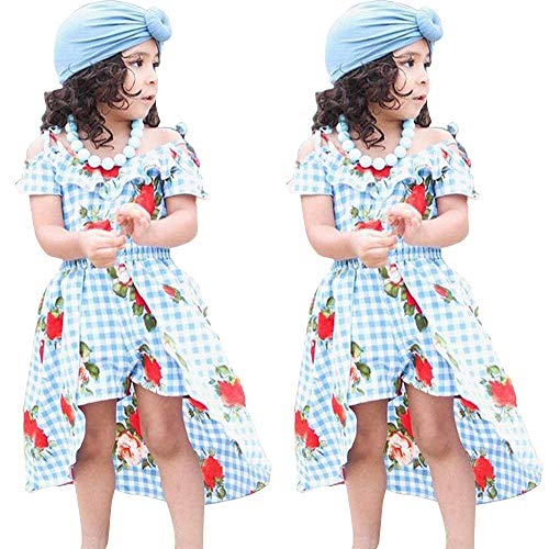 - NoNoAnt Kids Girls Summer Sling Sweet Floral Dress Elegant Girl Princess Ruffles Irregular Culotte Dresses 3-8 Year (Sky Blue, 11T)