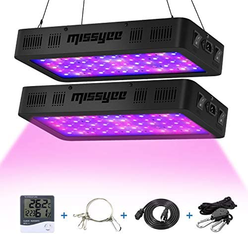 Missyee 2 Pack 600W LED Plant Grow Light with Thermometer Humidity Monitor, Adjustable Rope, Full Spectrum Double Switch Plant Light for Indoor Plants Veg and Flower – 600W 10W LEDs 60Pcs