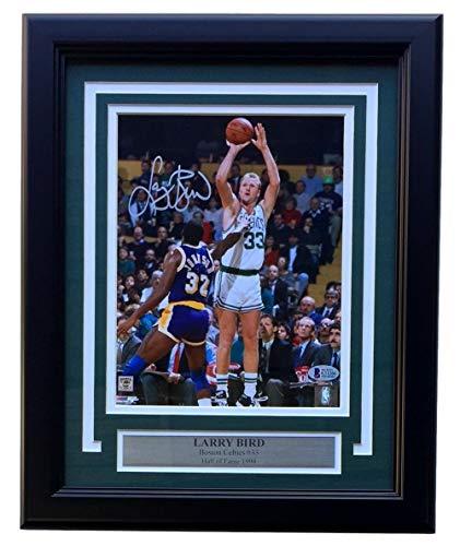 Larry Bird Signed Framed Boston Celtics 8x10 Jersey Photo Beckett ()
