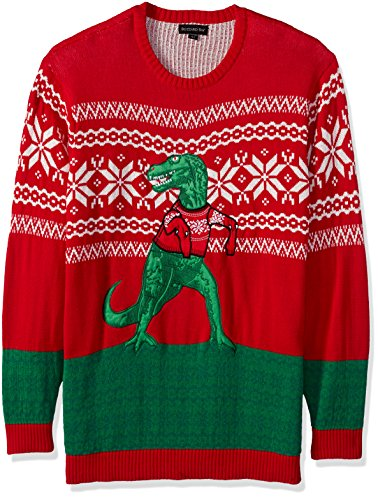 253955470 Blizzard Bay Men's Ugly Sweater Big,Tall Trex Hates Christmas Festive  Red/Wht XL