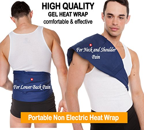 Reusable Gel Heating Pad & Ice Pack: Washable Large Heat Therapy Body Pads for Sore Upper Back, Neck Knee & Shoulder Pain Relief - Personal Non Electric Deep Muscle Non Toxic Gel Hot Pack or Cold Wrap