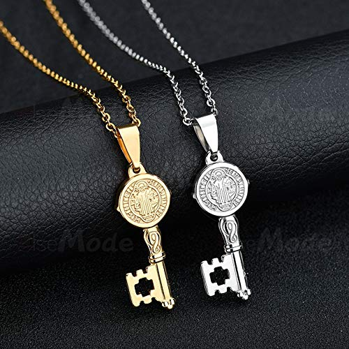 Davitu Retro 316L Stainless Steel Amulet Necklace Gold Saint Benedict Key Pendant Necklaces Catholic Jewelry for Women Men Metal Color: Silver
