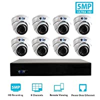 GW Security 9 Channel 4K NVR H.265 Onvif IP Security System with 8 HD IP PoE 5MP (1920P/1080P) Dome Security Camera