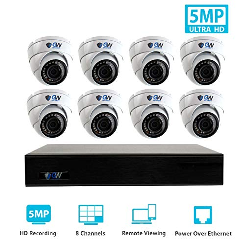 GW Security 9 Channel 4K NVR H.265 Onvif IP Security System with 8 HD IP PoE 5MP 1920P 1080P Dome Security Camera