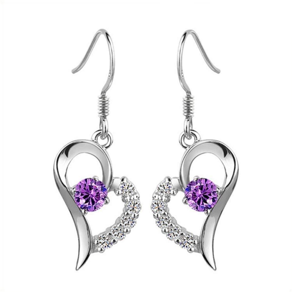 Meoliny Crystals Heart Shape Dangle Earrings Princess Cut Zirconia Drop Fishhook Earrings Fine Jewelry Gift for Women,Purple