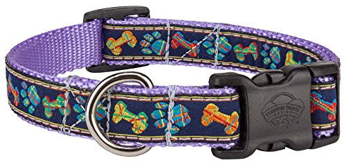 Country Brook Design Deluxe Plaid Bones And Paws Woven Ribbon on Lavender Dog Collar Limited Edition - Medium