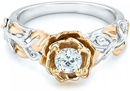 Romantic Fate White and Gold Double Colors Plated Zirconia Studded Flower Women Fashion Ring