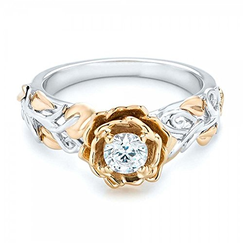 Romantic Fate White and Gold Double Colors Plated Zirconia Studded Flower Women Fashion Ring 8# -