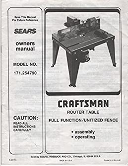 sears owners manual craftsman router table full function utilized rh amazon com 25444 Craftsman Router Table Manual Craftsman Router Table Manual