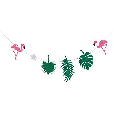 TINKSKY Banner Leaves Garland Banner Hawaii Tropical Garland for Birthday Luau Party Decoration (Green): Toys & Games