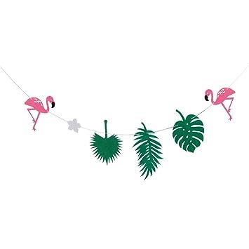 Tinksky Flamingo hojas bandera guirnalda bandera para Luau cumpleaños decoración del partido (verde)