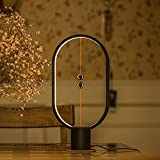 Magnetic Mid-air Switch Lamp, Smart Half-Empty Switch LED USB Powered Bedroom Reading Wood Desk Night Light(Black)