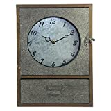 Industrial Galvanized Steel Metal Clock Mantel Cabinet With Drawer