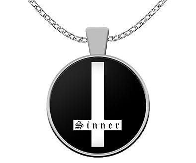 Amazon Esoteric Necklace Sinner Satanic Inverted Cross Symbol