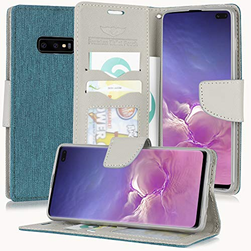 Galaxy S10E Case, for Samsung Galaxy S10e/ S10 Lite (SM-G970) PU Leather Canvas Denim Fabric Credit Card Slot Pouch Holder Flip Folio Stand Wallet Purse Cover + Wrist Strap & Free Emoji! (Teal/Beige)