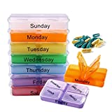 BOSOMEE 7 Days Pill Case Medicine Tablet Sorter Drug Box Container Medicine Weekly Pill Box Drug Cases Splitters For Healthy Care