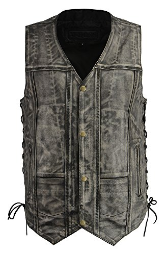 (M-BOSS APPAREL-Men's Distressed 7 Pocket Vest w/Exterior Gun Pocket-Distressed Gry-LG)